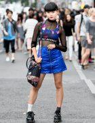 Trendy Harajuku Street Fashion w/ Sheer Top, Quilted MORPH8NE Skirt & Hoop Earrings
