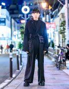 Harajuku Guy in All Black w/ Fekete Cutoff Blazer, Facial Piercings, Safety Pins, MP Studios Bag & Yosuke Platforms