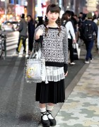 Yumiko Igarashi Manga Bag, Pleated Skirt & Knit Top in Harajuku