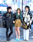 Harajuku Twins in Faux Fur, KTZ & Giza w/ Harajuku Girl in Lighted Heels & Green Hair