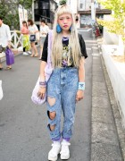 Harajuku Girl w/ Heart Cutout Acid Wash Jeans & Platform Sandals