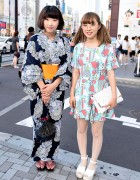 Flower Print Yukata vs Colorful Dress & Round Glasses in Harajuku