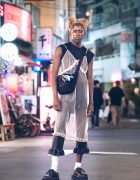 Paris Fashion Model in Harajuku at Night w/ Lingerie as Outerwear, Cropped Pants & Platform Creepers