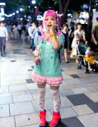 "Haruka Kurebayashi w/ ""Magical Girl"" Dress & Pink Braids in Harajuku"