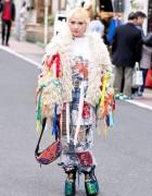 Mai Aisaki in Harajuku w/ Hayatochiri Ribbons Jacket, KTZ Bag & YRU Spiked Sparkling Platforms