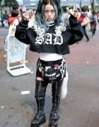 """Hirari Ikeda w/ """"SAD"""" Top, Ambush Claw Choker & DAMAGE Bag in Shibuya"""