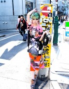 Hirari Ikeda w/ Hi Tek London Telephone Bag From Dog Harajuku