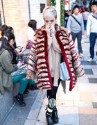 Hirari Ikeda in Harajuku w/ Oversized Coat, Vive Vagina & Tokyo Bopper