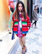 Hirari Ikeda in Mexican Blanket Jacket & Moonspoon Saloon