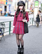 Harajuku Girl in Plaid Honey Cinnamon Dress & Platform Shoes
