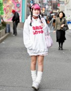 Pink Bangs, Oversized Hoodie & Kawaii Fashion on the Street in Harajuku