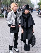 Silver Issey Miyake Suit & Comme des Garcons Monochrome Look in Tokyo