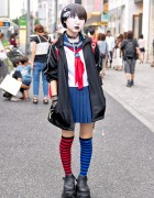 Japanese School Uniform, Demonia, Striped Socks & Momoclo Winged Backpack in Harajuku