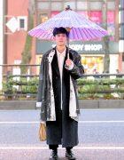 Tokyo Street Style w/ Japanese Wagasa Umbrella, Tigran Avetisyan, Yohji, Hender Scheme Bag & Haruta Shoes
