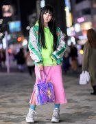 Japanese YouTuber in Cute Harajuku Street Style w/ Candy Stripper Sukajan, Little Sunny Bite, OC & Yosuke