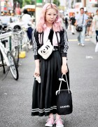 Jeremy Scott Adidas Cut Out Jacket, Pink Hair & Panda Bag in Harajuku