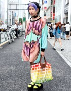 Purple Hair, MYOB Earrings, W.I.A Top & Jeremy Scott Bag in Harajuku