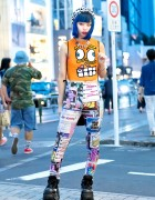 Blue-haired Harajuku Girl w/ Jeremy Scott, Moschino, Michiko London & Demonia