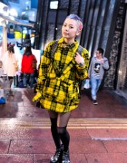 Kaoru in Shibuya w/ Colorful Shaved Hair, Jimsinn Harness Top & Glad News
