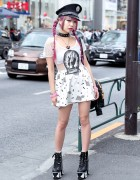 Pink Hair, Glad News Sheer Dress, Sretsis Roller Skate Heels & UNIF Backpack