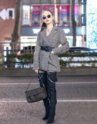 Envyn Belted Blazer w/ Shoulder Pads, Juemi Top, Fendi Bag & Yello Shoes Tall Boots Tokyo Street Style