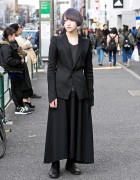 Harajuku Guy in All Black w/ Fashion by Julius & Yohji Yamamoto