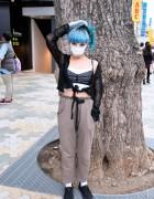 Juria Nakagawa in Harajuku w/ Nicopanda, Blue Hair & Blue Eye Makeup