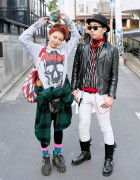 Harajuku Duo w/ Glad News, Leather Jacket, Sunglasses & Studded Platforms