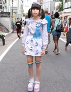Spank! Suspender Skirt, Candy Stripper Sandals & Katie Ribbon in Harajuku