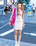 Katie Sleeveless T-Shirt, Gingham Mini-Skirt & Opening Ceremony Bag in Harajuku