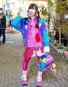 Colorful Harajuku Kawaii Style Girl in Resale Fashion, Buffalo Platforms & Disney Backpack