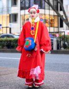 Kawaii Handmade Harajuku Street Style w/ Colorful Oversized Sleeves, Pierrot Collar, Lace & Oyasumi Club