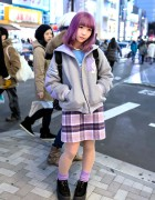 Pastel Purple Hair & Pastel Sailor Collar Varsity Jacket in Harajuku