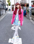 Pink Hair, SPANK! Tights, Platform Sandals & Little Mermaid in Harajuku