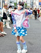 Harajuku Girl w/ Pastel Weapon, Fluffy Heart Bag, Loose Socks & Cute Fashion
