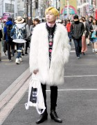 Harajuku Guy w/ Yellow Hair, Faux Fur Coat, Christian Dada & Gosha Rubchinskiy