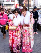 Kimono Pictures on Coming of Age Day in Tokyo 2012