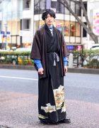 Japanese Kimono, Necktie & Dr. Martens Street Style in Harajuku, Tokyo