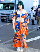 Kimono Jacket, Corset, Blue Hair & Winged Shoes in Harajuku