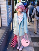 Kimura Yu w/ Pretty Pink Hair & Pastel Fashion in Harajuku