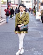 Harajuku Girl in Glasses w/ Yellow Houndstooth Jacket & YRU Sandals