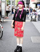 Harajuku Girl w/ Pink Hair, Kinji Popcorn Shirt, YRU Platforms & MCM Bag