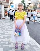 Smiley Faces Crop Top, Sheer Skirt & Lisa Frank Unicorn Bag in Harajuku