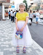Smiley Faces Crop Top, Sheer Skirt & Lisa Frank Unicorn Bag in Harajuku