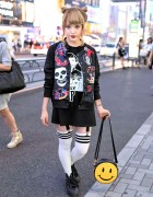 Kobinai Punk Bomber, Spiked Sneakers & Smiley Face Purse in Harajuku