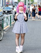 Japanese Artist Kuua w/ Pink Twintails & Piercings On The Street in Harajuku