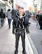 Dog Harajuku Feather Jacket, Oversized Metal Necklace & Buckle Boots