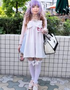 Kawaii Cerise Bow Dress, Lavender Hair & Over-the-Knee Socks in Harajuku