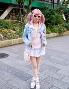 Pink Hair, Tulle Skirt, Heart Bag & Esperanza Platforms in Shibuya