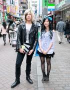 Leather Jacket, Skulls Top, Espadrilles & Apple Clutch in Shibuya